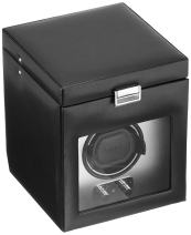 WOLF 270303 Heritage Single Watch Winder with Cover and Storage, Brushed Metal