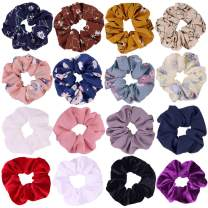 16 Pcs Chiffon Flower Hair Scrunchies Velvet Hair Ties Elastic Hair Bobbles for Ponytail Holder Women Girls Hair Accessories Ropes Scrunchie