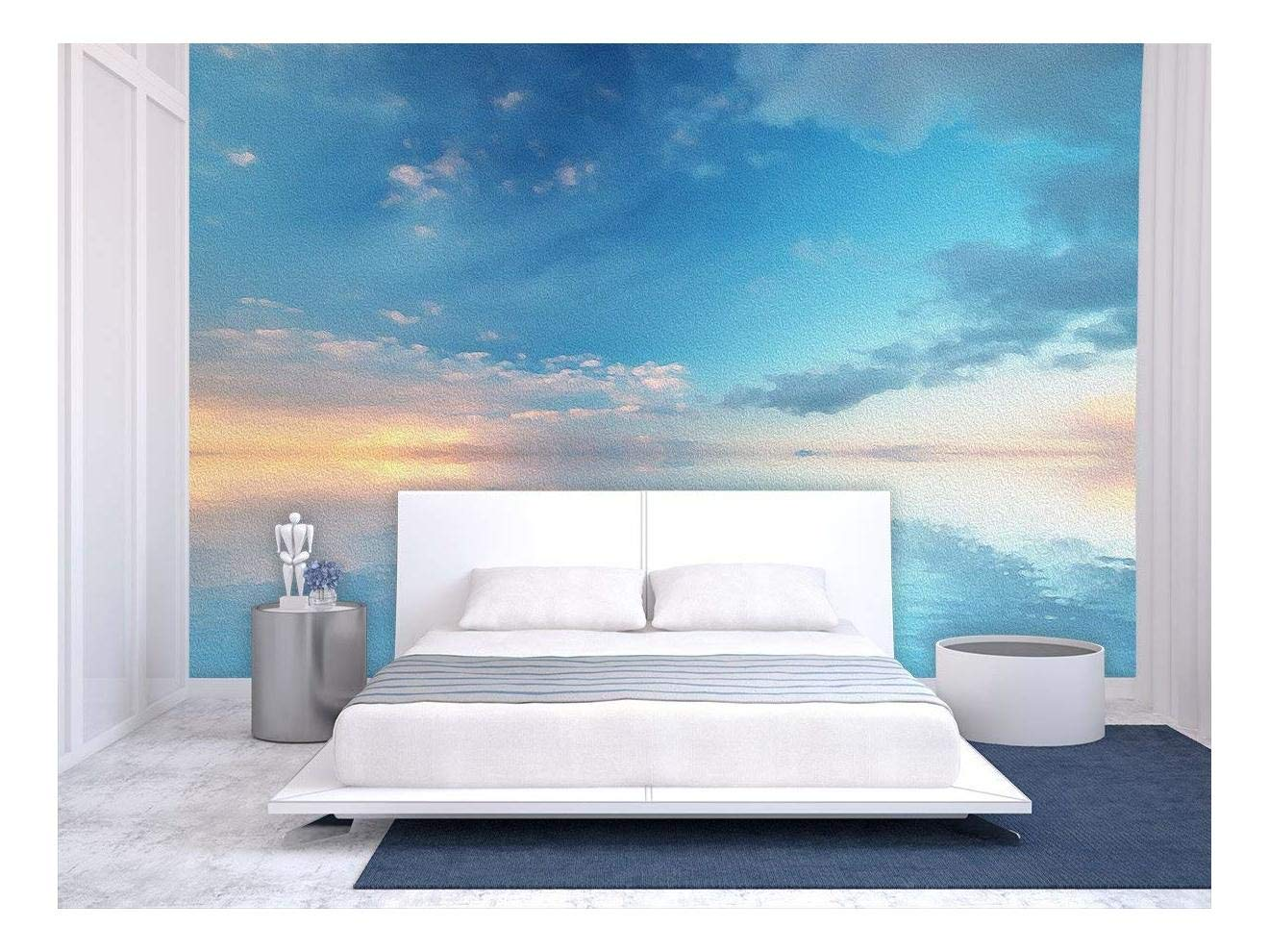 wall26 - Large Wall Mural - Oil Painting Style Landscape with Blue Sky Reflected on Calm Ocean at The Sunset | Self-Adhesive Vinyl Wallpaper/Removable Modern Wall Decor - 100x144 inches