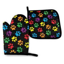 Mxifvn Oven Mitts and Pot Holders Sets for Kitchen - Heat Resistant BBQ Oven Gloves - Polyester Printing with Soft Cotton Lining for Cooking Baking Grilling - Set of 2