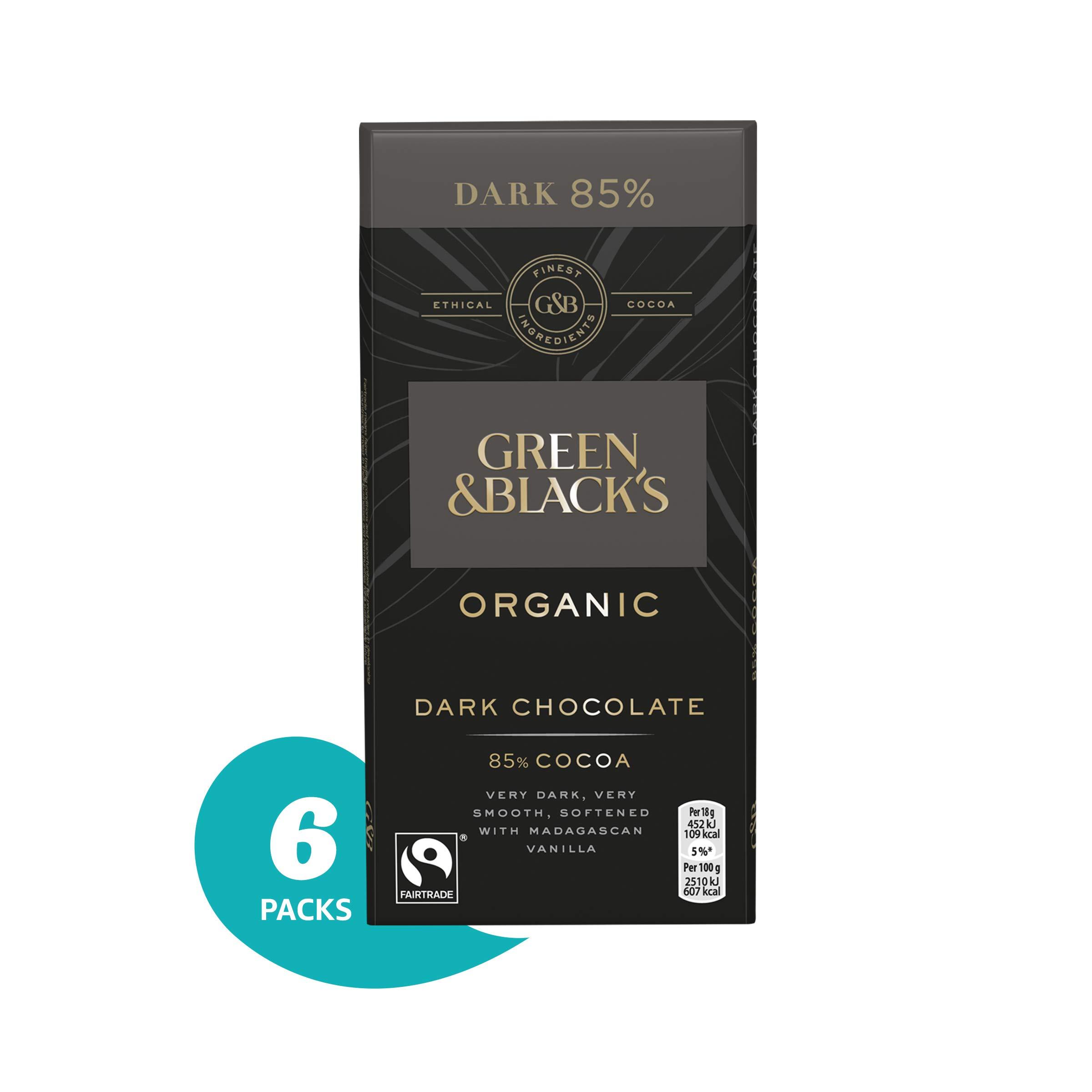 Green & Black's Organic 85% Dark Chocolate Candy Bars, 6 Count