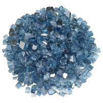 Blazing Fireglass 10-Pound Reflective Fire Glass with Fireplace Glass and Fire Pit Glass, 1/2-Inch, Pacific Blue