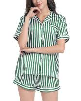 SUNNYME Pajamas for Women Summer Satin Sleepwear Set Short Sleeve Tops Pajama Shorts Soft Nightwear Set Loungewear