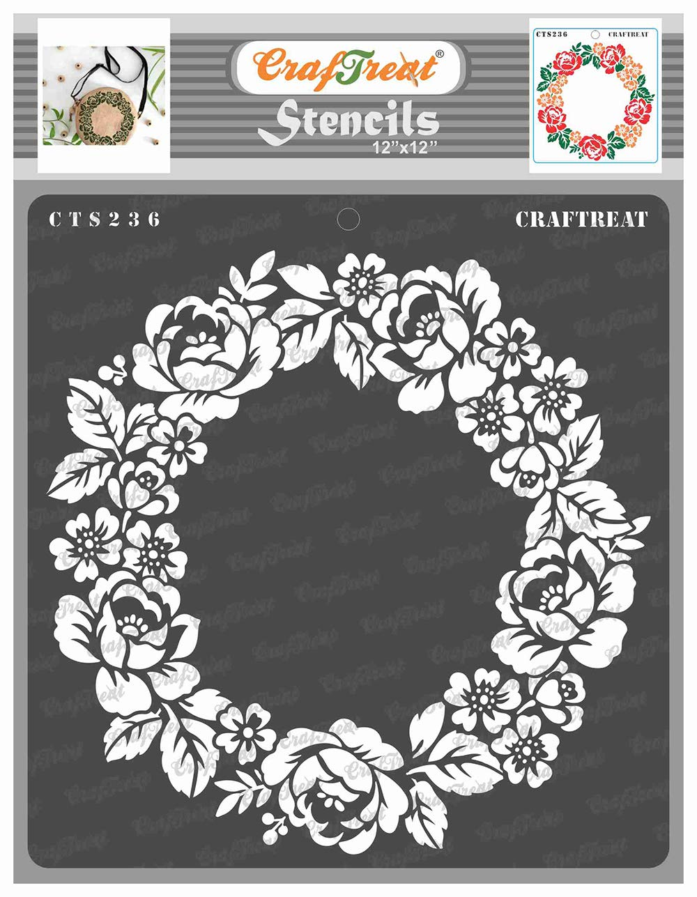 CrafTreat Flower Stencils for Painting on Wood, Canvas, Paper, Fabric, Floor, Wall and Tile - Rose Wreath - 12x12 Inches - Reusable DIY Art and Craft Stencils for Painting Flowers - Rose Stencils