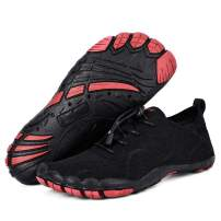 Mens Barefoot Water Shoes Quick Dry for Outdoor Sport Beach Fishing Walking Yoga Diving Shoes (181226heihong42) Black-red