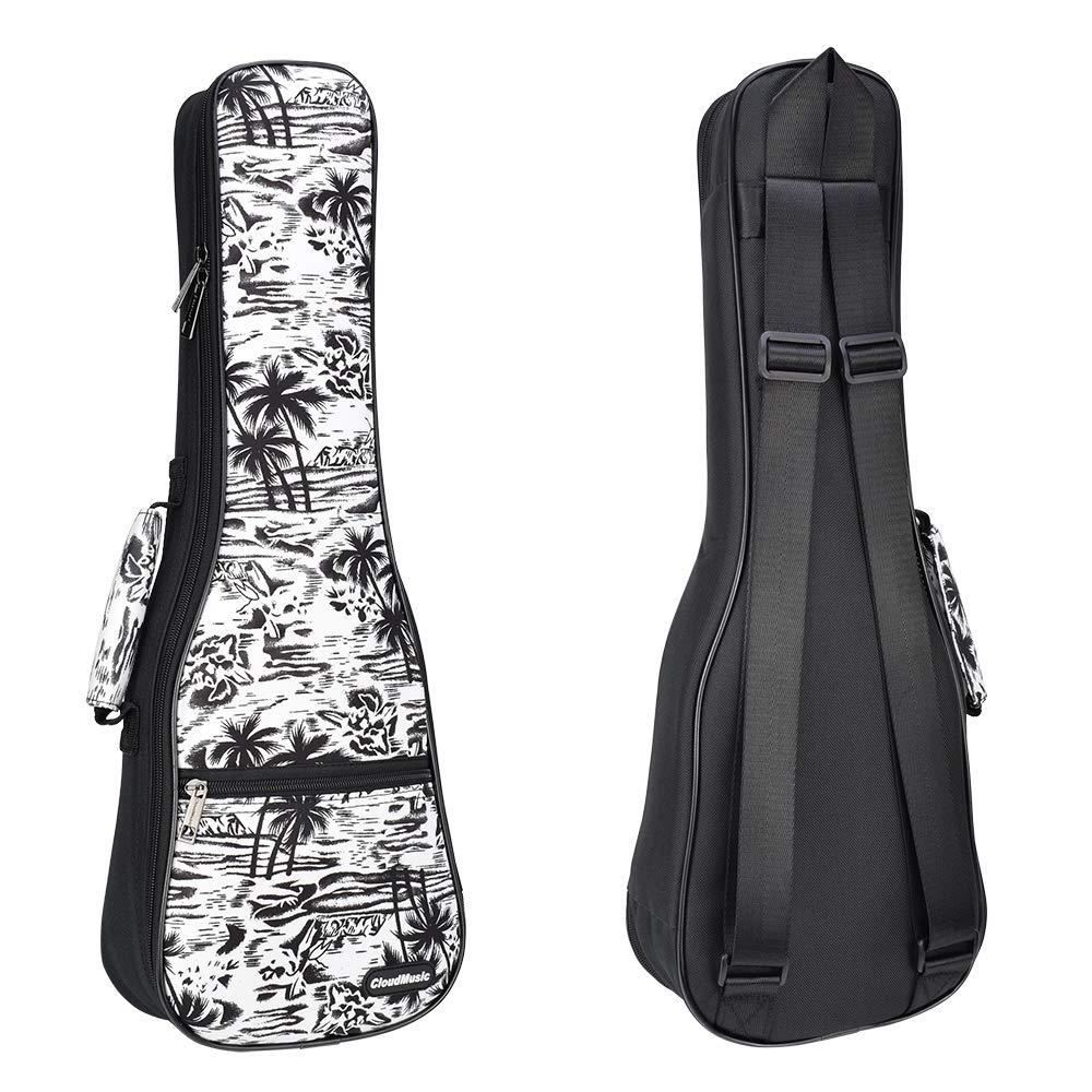 CLOUDMUSIC Soprano Ukulele Case Hawaiian Palm Tree and Coconut Ukulele Backpack 10mm Padded