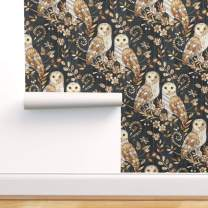 Removable Water-Activated Wallpaper - Barn Owl Texture Owls Wood Nature Night Modern Farmhouse Bird by Micklyn - 24in x 72in Smooth Textured Water-Activated Wallpaper Roll