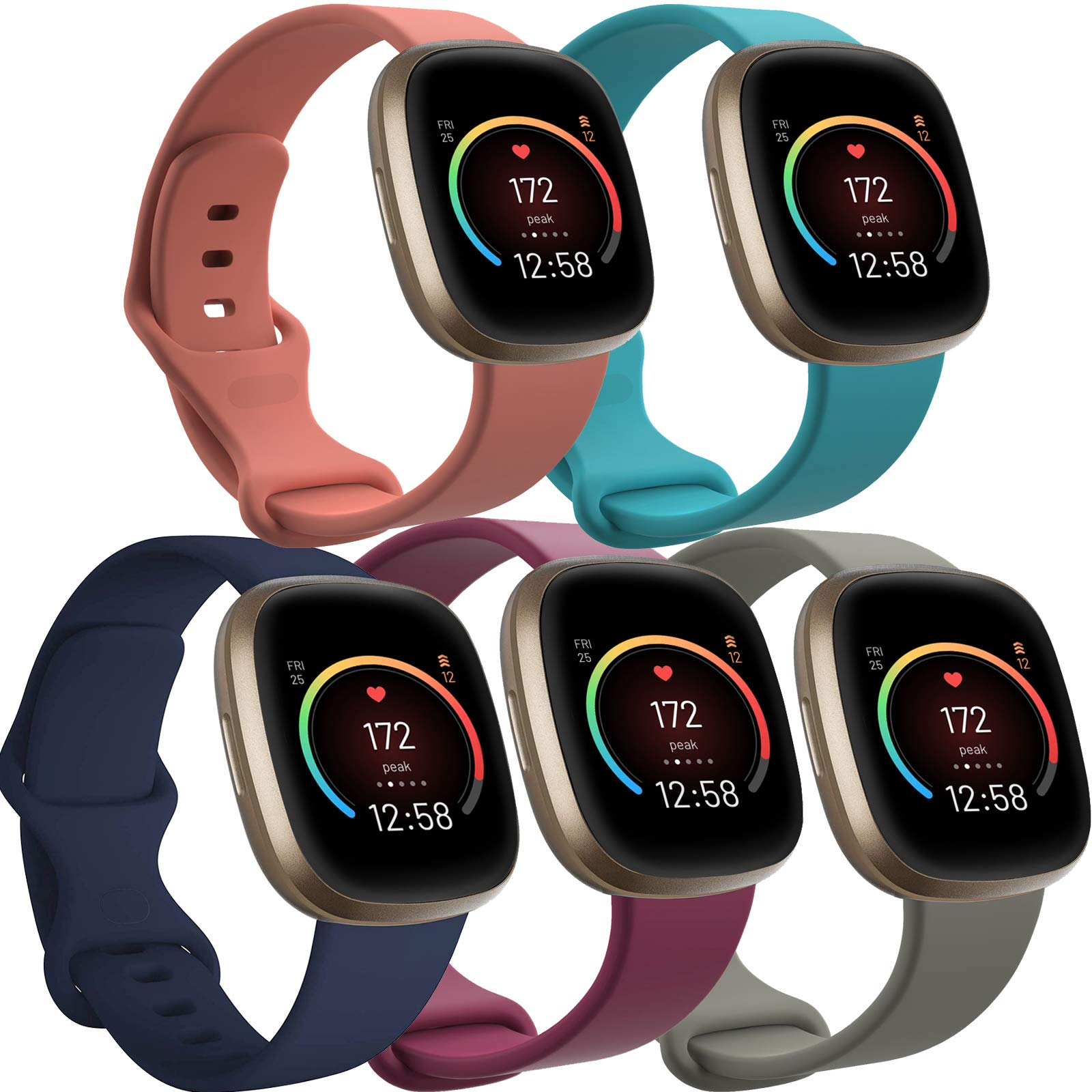 Silicone bands for fitbit versa 3 and fitbit sense smartwatch