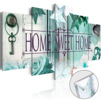 AWLXPHY Decor- 5 Panels Home Sweet Home Canvas Wall Art Print Painting Framed for Office Room Decoration Modern Still Life Love Stretched Artwork Giclee Wedding Gift (Blue, W60 x H30)