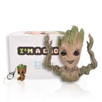Boxiti Baby Groot Guardians of The Galaxy Action Figure Flowerpot with Gift Groot Key Ring, Pen Pot Model 4