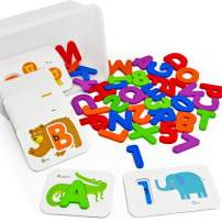 Vileafy Preschool Letters and Numbers for Toddlers Alphabet Paired Flash Cards, Wooden Block Puzzles for Kids 2+ ( 36 Flashcards + 36 Block Puzzles)