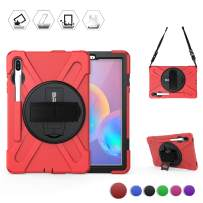 BRAECN Galaxy Tab S6 Case,[with S Pen Holder] Three Layers Heavy Duty Shockproof Protective Case with Hand Strap,Shoulder Strap,360 Kickstand for Galaxy Tab S6 10.5 Inch 2019(SM-T860/T865/T867)-Red