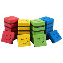 Juvale Mini Square Whiteboard Erasers, Smiley Face Design (4 Colors, 24 Pack)