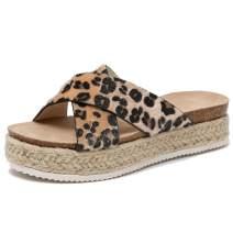 Ru Sweet Women's Platform Espadrilles Criss Cross Slide-on Open Toe Faux Leather Studded Summer Sandals