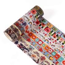 Accmor 8 Rolls Washi Tapes Set, Decorative Masking Tape for DIY Scrapbook, Planner, Bullet Journal, Arts & Crafts, 15mm Wide