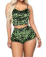 TOP-VIGOR Womens Pajama Sets,Velvet 2 Piece Outfit Spaghetti Strap Crop Top+ Shorts Set