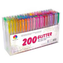 200 Pack Glitter Gel Pens Set, Smart Color Art 100 Colors Gel Pens with 100 Refills for Adult Coloring Books Drawing Painting Writing
