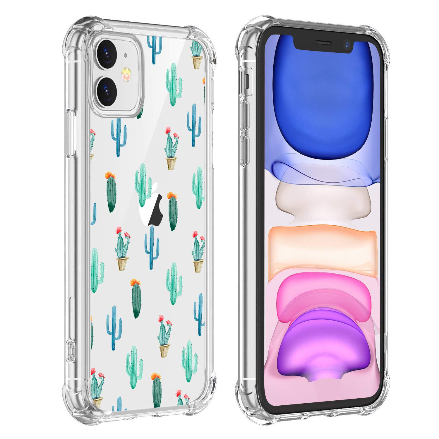 Hi Space Cactus Case for iPhone 11, Cacti Girls and Women Floral Back Cover, Transparent Flexible TPU Bumper Shockproof Protective Case