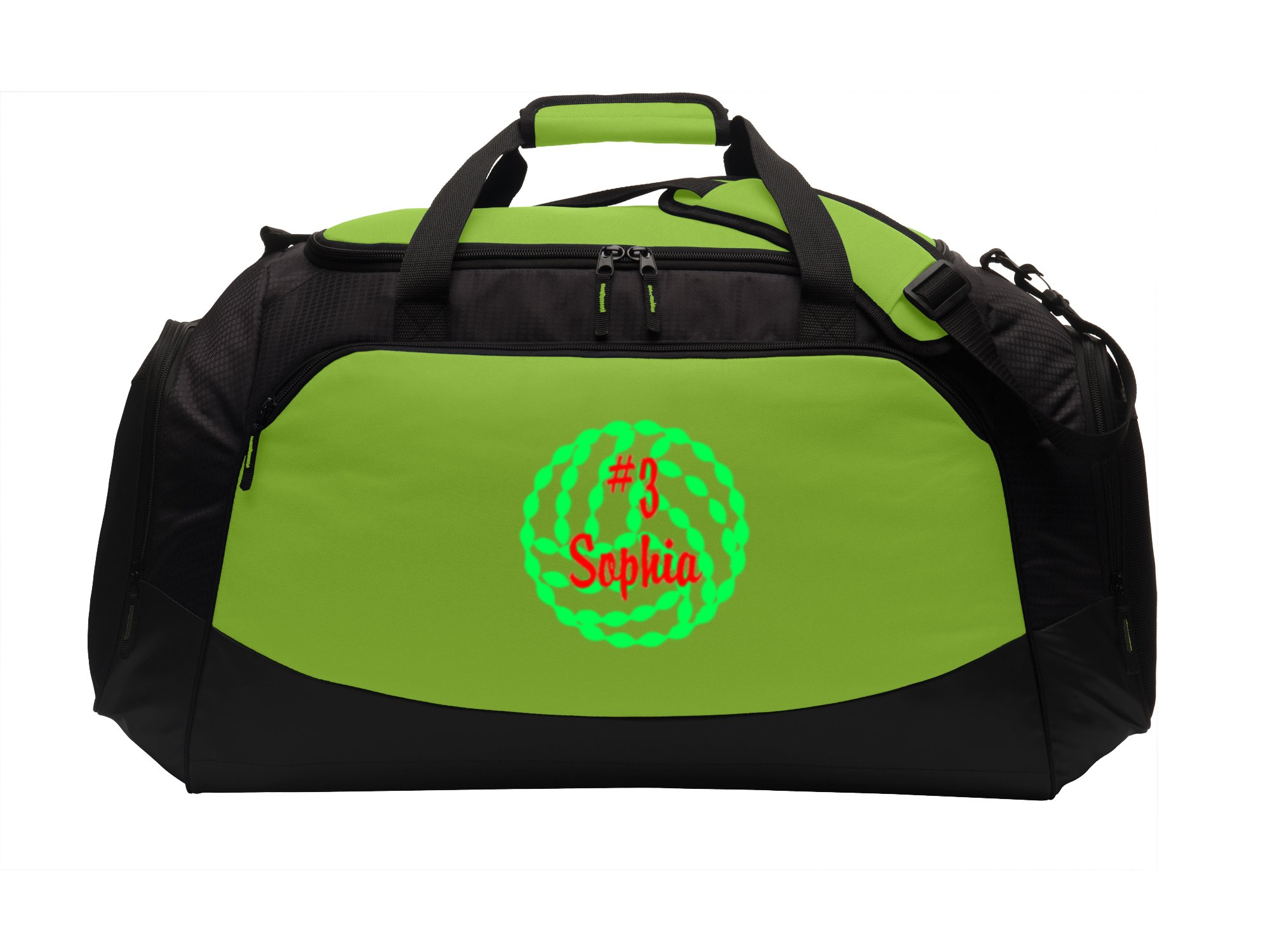 Personalized Volleyball Sports Bag with Customizable Embroidered Monogram Design | Waterproof Large Active Gym Duffel Bag with Custom Text (Lime Shock/Black)