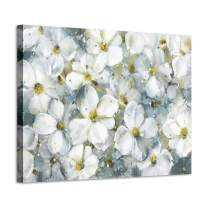 "Flower Abstract Art Floral Picture: White Botanical Artwork Painting on Canvas Wall Art for Bedrooms(16""x12""x1 Panel)"