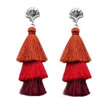 MVCOLEDY Women's Tassels Dangle Earrings Handmade Colorful Layered Tassel Elegant Jewellery Bohemian Style Ethnic Eardrop Drop Tiered Tassel Stud Earrings Women Thanksgiving Gifts