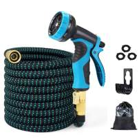 EASYHOSE 100ft Expandable Water Garden Hose,Expanding Flexible Hose with Strength Stretch Fabric with Brass Connectors - 9 Way Spray Nozzle +12 Months Warranty
