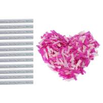 Battife Gender Reveal Confetti Sticks Pink 12 Pack 14inch Biodegradable Tissue Paper Confetti Flick Stick Wands for Baby Girl Shower Party Supplies Decoration