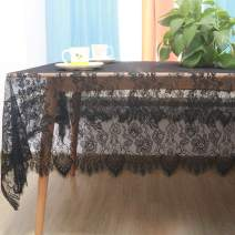 60 x 120 Inches Black Lace Tablecloth for Rectangle Dining Table, Elegant Pattern Eyelash Trim