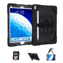 GEEKSDOM ipad Air 10.5 case 2019/2017 (3rd ge) with Pencil Holder Shouler Hand Strap 360 Kickstand, Black