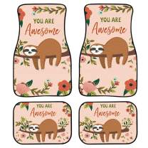 chaqlin Chic Style Sloth Car Carpet Floor Mat for Women 4 Piece Mattress Backseat Nonslip-You are Awesome