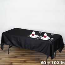 LinenTablecloth 60 x 102-Inch Rectangular Polyester Tablecloth Black (Pack of 4)