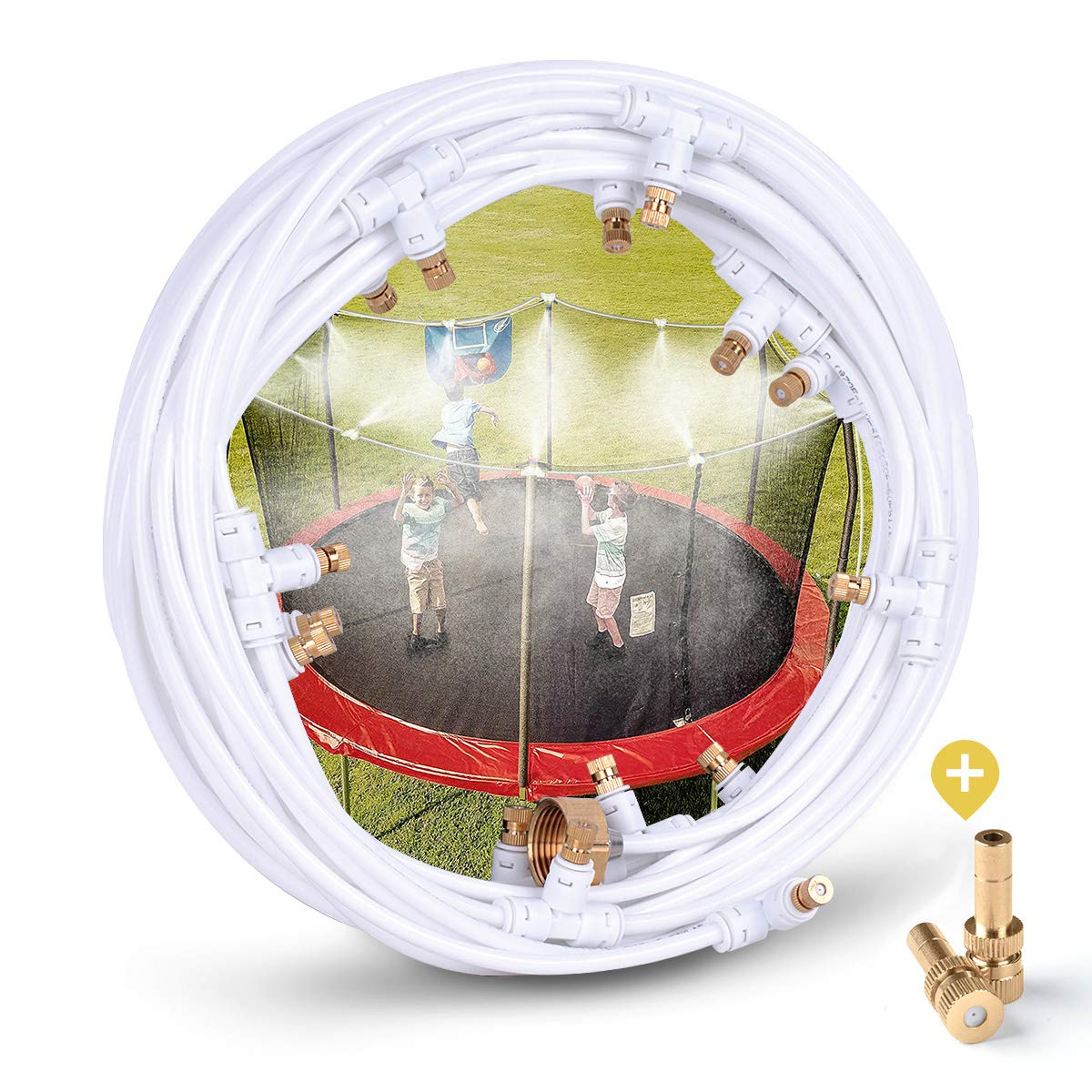 """HOMENOTE Misting Cooling System 59FT (18M) Misting Line + 16 Brass Mist Nozzles + a Metal Adapter(3/4"""") Outdoor Mister Patio Garden Greenhouse Trampoline for Water Park"""