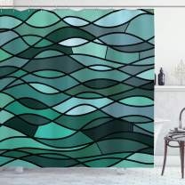 """Ambesonne Teal Shower Curtain, Abstract Mosaic Waves Ocean Inspired Expressionist Pattern Marine Design Image, Cloth Fabric Bathroom Decor Set with Hooks, 84"""" Long Extra, Green Aqua"""