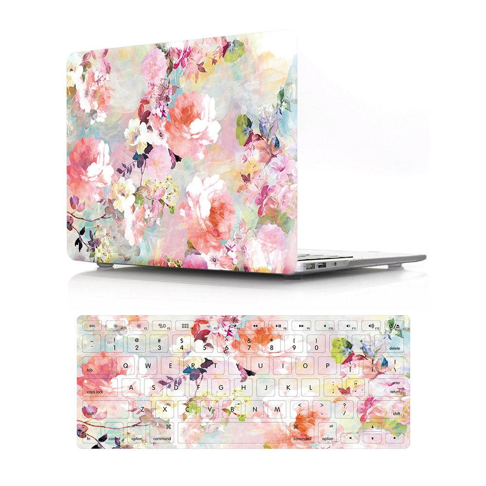 """HRH 2 in 1 Pink Watercolor Flower Laptop Body Shell Protective PC Hard Case Cover and Matching Silicone Keyboard Cover for MacBook Air 13.3"""" Inch (A1466/A1369,Older Version Release 2010-2017)"""