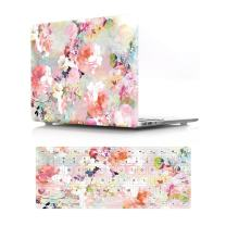 "HRH 2 in 1 Pink Watercolor Flower Laptop Body Shell Protective PC Hard Case Cover and Matching Silicone Keyboard Cover for MacBook Air 13.3"" Inch (A1466/A1369,Older Version Release 2010-2017)"