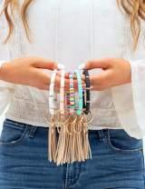 Loodial Boho Key Ring Bracelet Beaded Keychain Wristlet with Tassel Keychains for Women