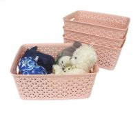 Honla Weaving Plastic Storage Baskets Bins Organizer with Handles,Set of 4,Pink