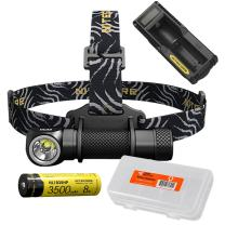 NITECORE HC33 1800 Lumens High Performance Versatile L-Shaped Headlamp, 1x 3500mAh 8A Rechargeable Battery, UM10 Battery Charger, Lumen Tactical Battery Organizer
