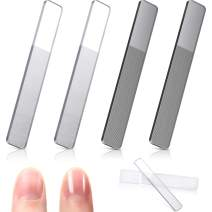 4 Pieces Glass Nail Shiner Crystal Nail Shine Buffer Polisher Crystal Glass Nano Nail File with Case for Natural Nails (White and Black Flat End)