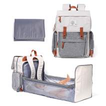 Diaper Bag Backpack with Bassinet Foldable Large Baby Sleeping Bed Changing Pad Insulated Bottle Pocket Waterproof Travel Bag Cream