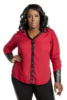 Poetic Justice Plus Size Curvy Women's Red Chiffon Button Front V-Neck Blouse