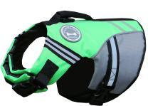 Vivaglory New Sports Style Ripstop Dog Life Jacket with Superior Buoyancy & Rescue Handle, Bright Green, XS