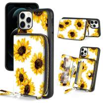 LAMEEKU Wallet Case Compatible with iPhone 12 Pro/iPhone 12 6.1 inch, Case with Card Holder Slot, Zipper Purse Case with Kickstand, Crossbody Case Design for iPhone 12 iPhone 12 Pro Sunflower