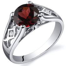 Cathedral Design 1.50 carats Garnet Solitaire Ring in Sterling Silver Rhodium Nickel Finish Sizes 5 to 9