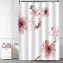 """MitoVilla Japanese Cherry Blossom Shower Curtain for Women and Baby Girls Gifts, Asian Watercolor Pink Cherry Florals Print Home Ornaments, Beautiful Female Bathroom Decorations, Pink, 72"""" W x 84"""" L"""