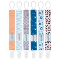 Babygoal Pacifier Clips, 6 Pack Pacifier Holder for Boys and Girls Fits Most Pacifier Styles &Teething Toys and Baby Shower Gift 6PS17
