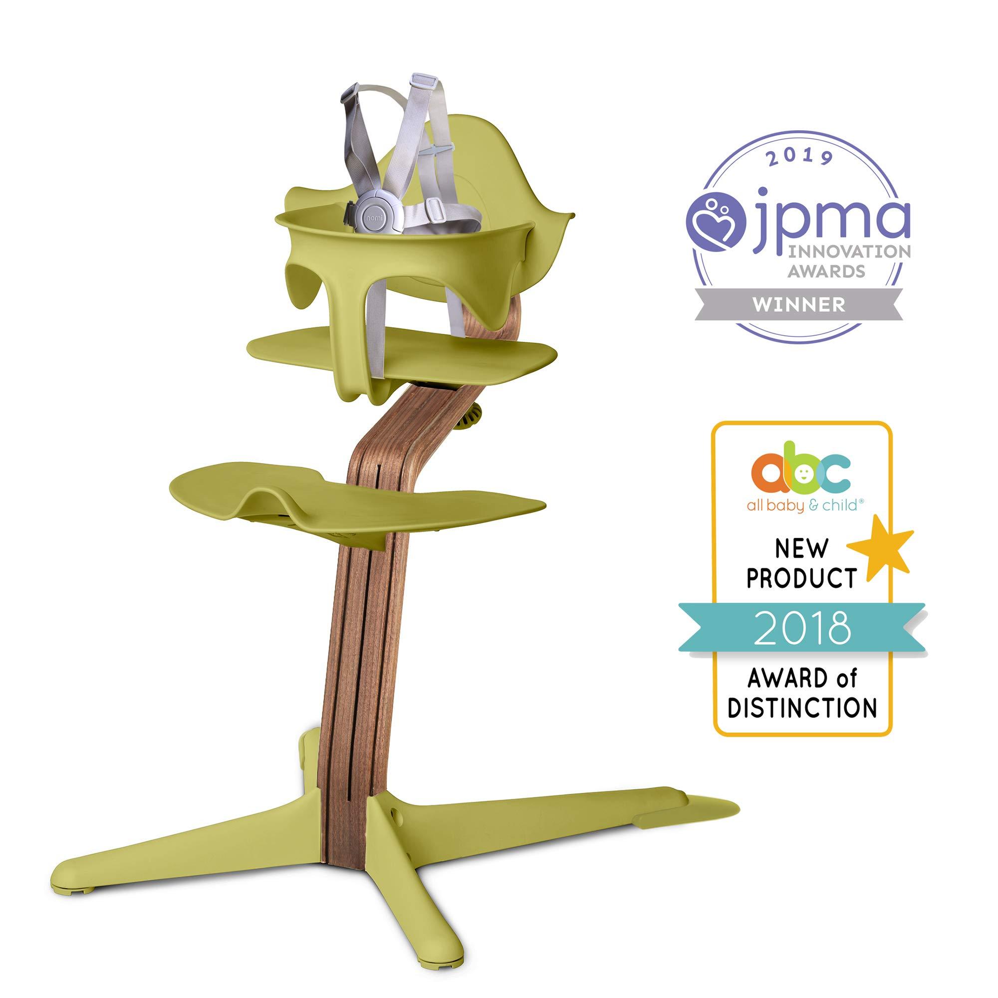 Nomi High Chair, Lime – Premium Walnut Wood, Modern Scandinavian Design with a Strong Wooden Stem, Baby through Teenager and Beyond with Seamless Adjustability, Award Winning Highchair