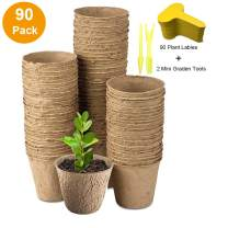 """3"""" Peat Pots Seedling & Herb Seed Starter Pots Kit Plant Starters Recycled Paper Planting 100% Biodegradable and ECO Friendly No Transplant Shock with Free Plant Labels & Garden Tool 90 Pack"""