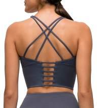 Lavento Women's High Neck Sports Bra Medium Support Workout Yoga Longline Tops