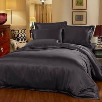 LilySilk 4pcs Bedding Set Flat Sheet Fitted Sheet Terse Pillowcases 22 Momme Charcoal Purple Full